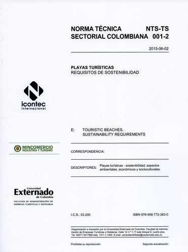Norma Tecnica Sectorial Colombiana. Playas Turisticas Requisitos De Sostenibilidad