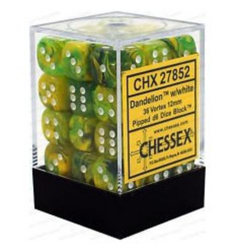 Borealis No.2 12Mm D6 Light Green/Gold 36-Dice Set