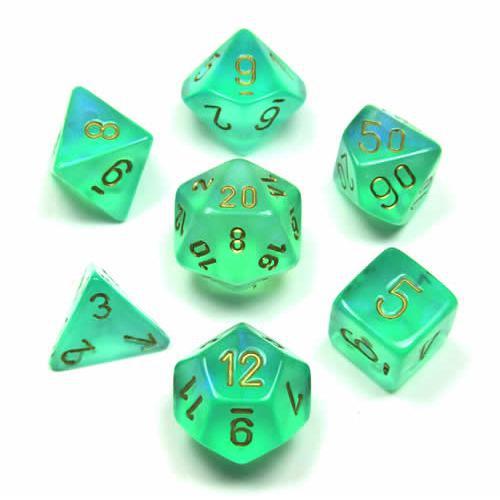 Borealis No.2 Polyhedral Light Green/Gold 7-Dice Set