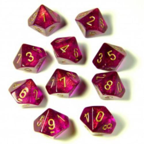 Borealis No.2 Polyhedral Magenta/Gold 7-Dice Set