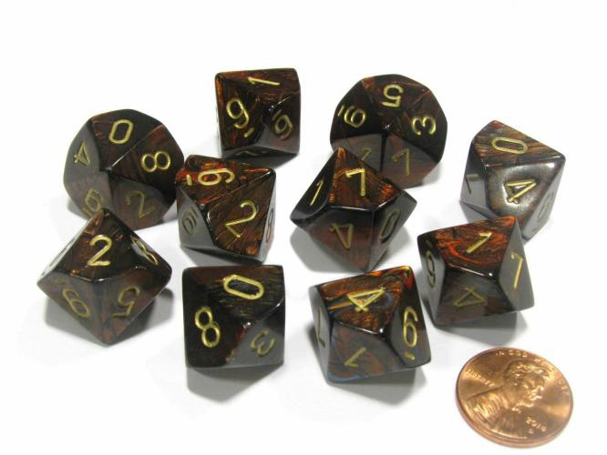 Chessex Translucent Smoke/Red 10-Dice Set