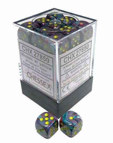 Dice Block - Festive Mosaic / Yellow 36-Dice Set