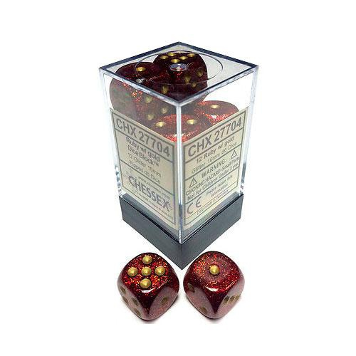 Dice Block - Glitter Ruby/Gold 12-Dice Set