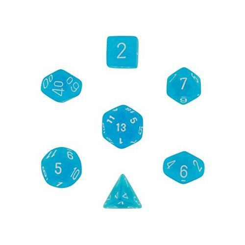 Frosted Polyhedral Blue/White 7-Dice Set