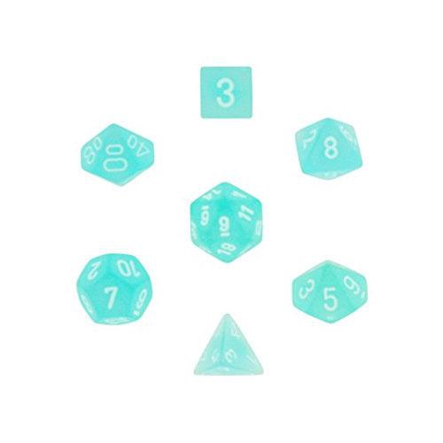 Frosted Polyhedral Teal/White 7-Dice Set