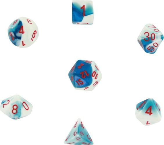 Gemini Polyhedral Astral Blue-White W/Red 7-Dice Set