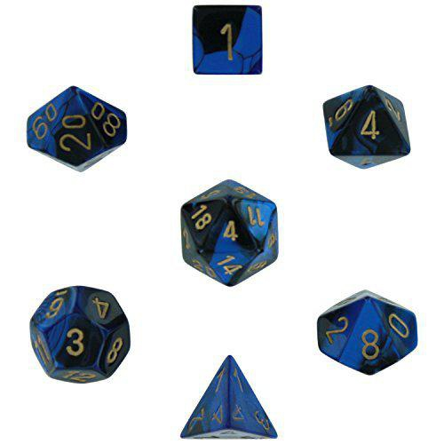 Gemini Polyhedral Black-Blue/Gold 7-Dice Set