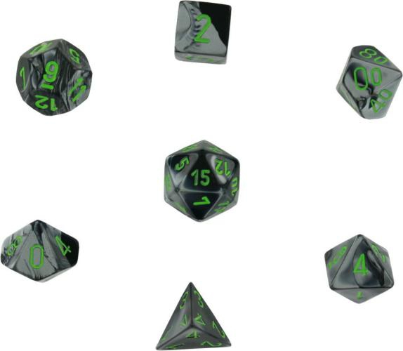 Gemini Polyhedral Black-Grey W/Green 7-Dice Set