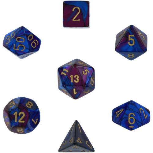 Gemini Polyhedral Blue-Purple/Gold 7-Dice Set