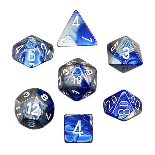 Gemini Polyhedral Blue-Steel/White 7-Dice Set