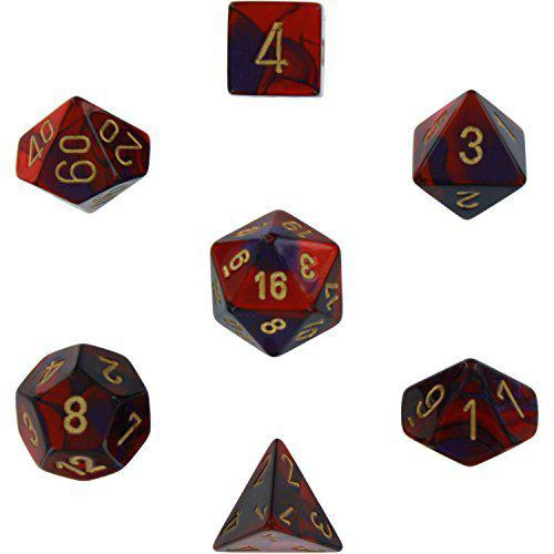 Gemini Polyhedral Purple-Red/Gold 7-Dice Set