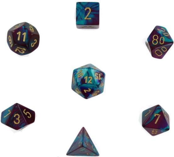 Gemini Polyhedral Purple-Teal W/Gold 7-Dice Set