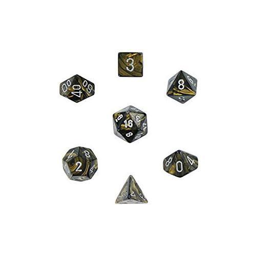 Leaf Polyhedral Black Gold/Silver 7-Dice Set