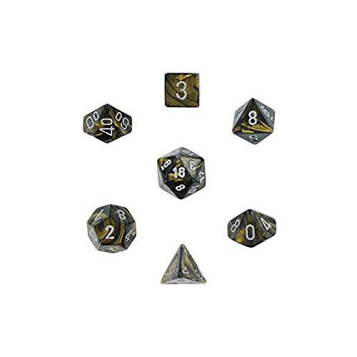 Leaf Polyhedral Black Gold/Silver 7-Dice Set