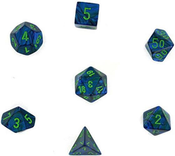 Lustrous Polyhedral Dark Blue W/Green 7-Dice Set