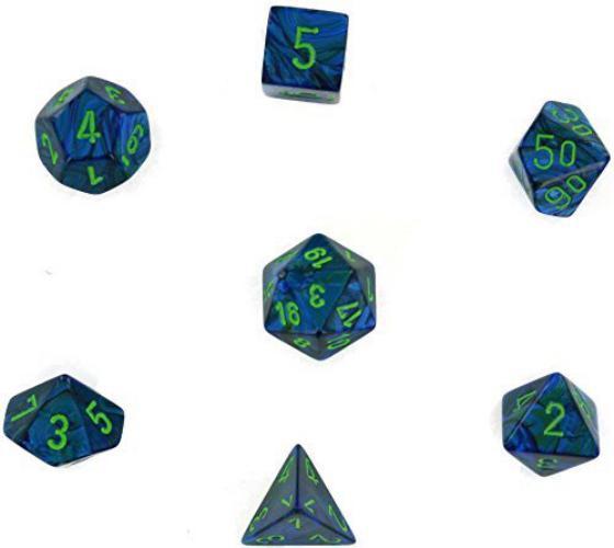 Lustrous Polyhedral Dark Blue W/Green 7-Dice Set