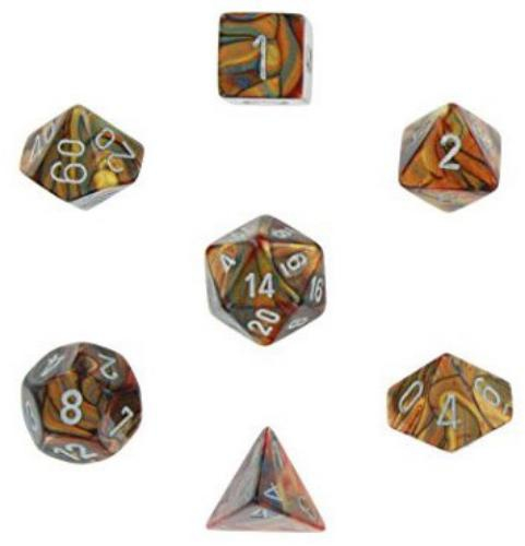 Lustrous Polyhedral Gold/Silver 7-Dice Set