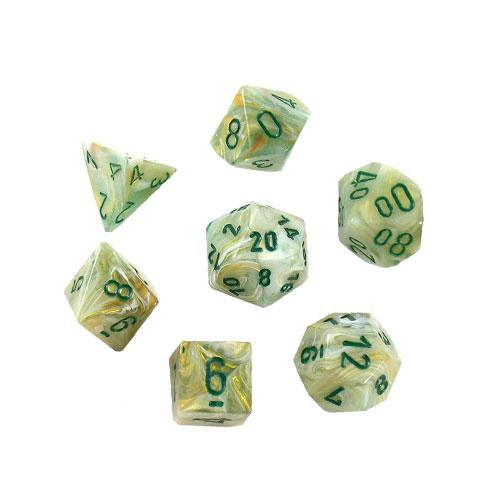 Marble Polyhedral Green/Dark Green 7-Dice Set