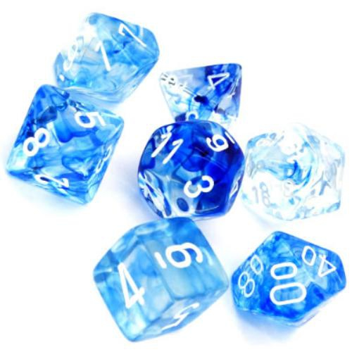Nebula Polyhedral Dark Blue/White 7-Dice Set