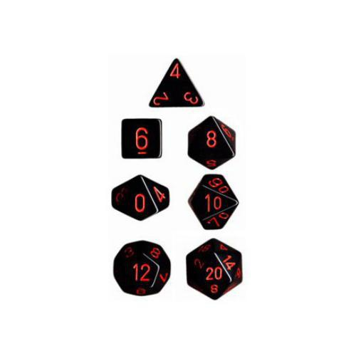 Opaque Polyhedral Black/Red 7-Dice Set