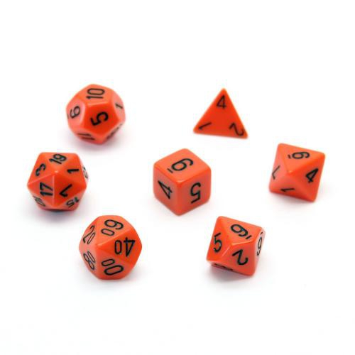 Opaque Polyhedral Orange/Black 7-Dice Set