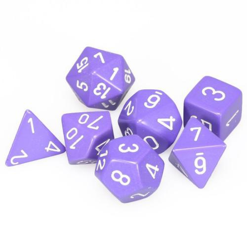 Opaque Polyhedral Purple/White 7-Dice Set