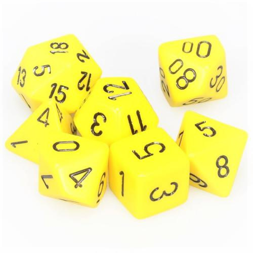 Opaque Polyhedral Yellow/Black 7-Dice Set