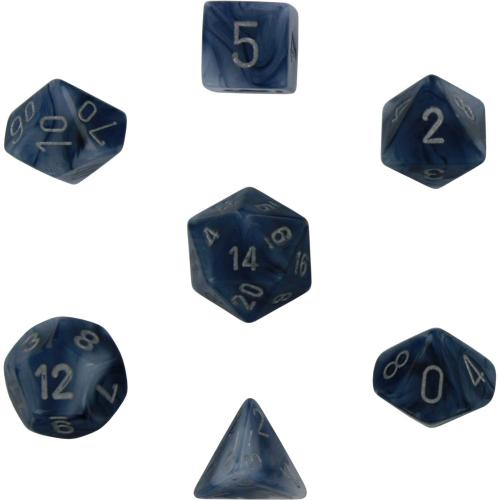 Phantom Polyhedral Black/Silver 7-Dice Set