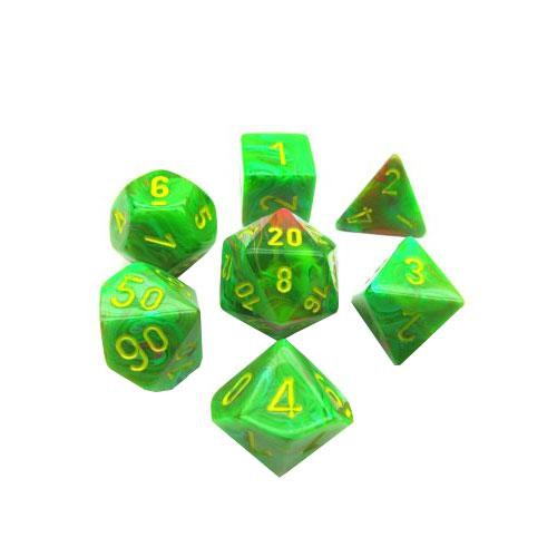 Polyhedral Vortex Slime / Yellow 7-Dice Set
