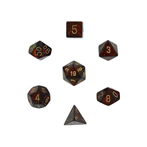 Scarab Polyhedral Blue Blood/Gold 7-Dice Set