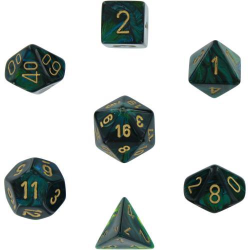Scarab Polyhedral Jade/Gold 7-Dice Set