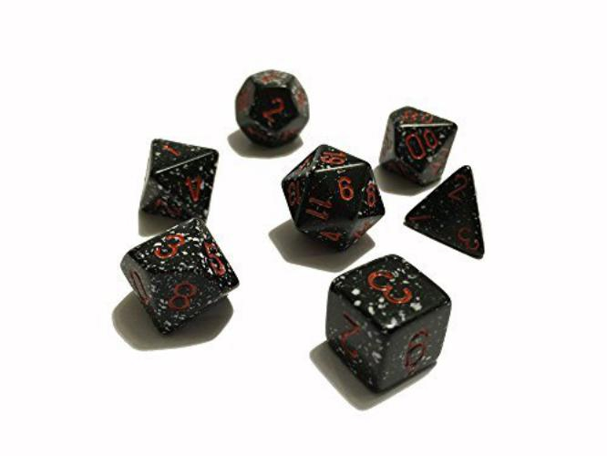 Speckled Polyhedral Space 7-Dice Set