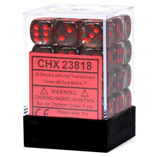 Translucent 12Mm D6 Smoke/Red 36-Dice Set