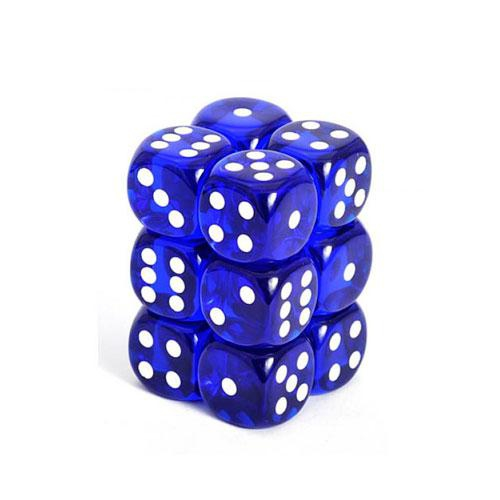 Translucent 16Mm D6 Blue/White Dice Block 12-Dice Set