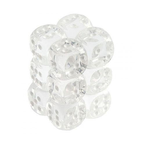 Translucent 16Mm D6 Clear/White Dice Block 12-Dice Set