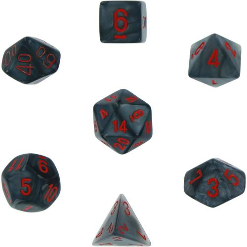 Velvet Dice Polyhedral Black/Red 7-Dice Set