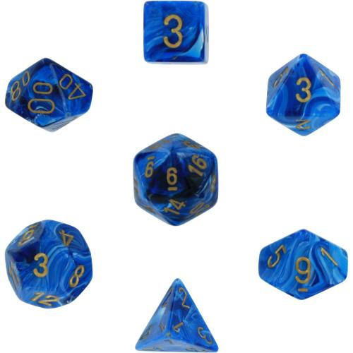 Vortex Polyhedral Blue/Gold 7-Dice Set