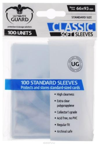 Sleeve Deck: Ultimate Guard Classic Soft Sleeves Standard Size Transparent